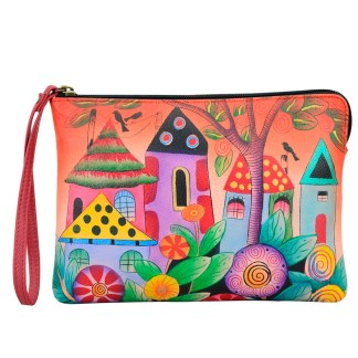 Anna by Anuschka Leather Zip Around Clutch Wristlet Wallet Vintage Garden-8349