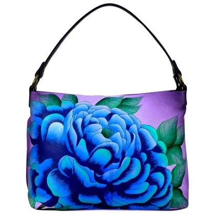 Anna by Anuschka Leather Hand Painted Medium Shoulder Hobo Handbag  Presious Peony  Eggplant Large E-W