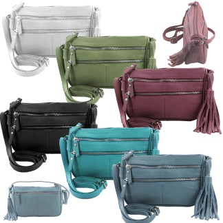 SILVERFEVER Genuine Leather French Kiss Cross Body Organizer Handbag Purse w Tassel