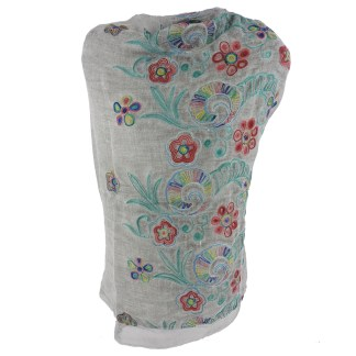 SILVERFEVER Floral Embroidery Light Scarf Shawl Wrap - Pansies on Grey