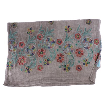 SILVERFEVER Floral Embroidery Light Scarf Shawl Wrap - Pansies on Puple