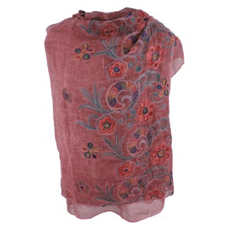 SILVERFEVER Floral Embroidery Light Scarf Shawl Wrap - Pansies on Red