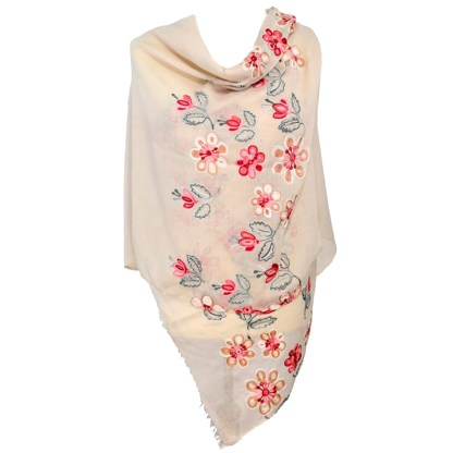 SILVERFEVER Floral Embroidery Light Scarf Shawl Wrap - Magnolias on Beige