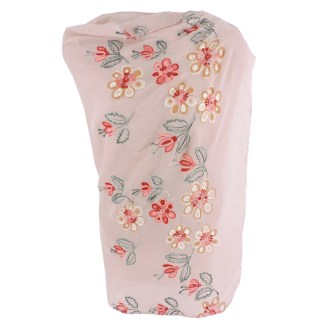 SILVERFEVER Floral Embroidery Light Scarf Shawl Wrap - Magnolias on Pink