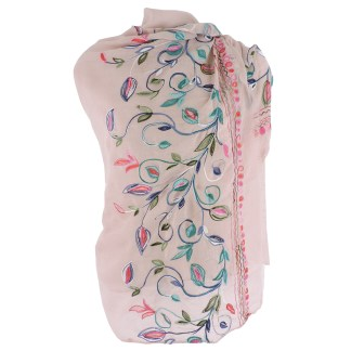 SILVERFEVER Floral Embroidery Light Scarf Shawl Wrap - Morning-Glory on Pink