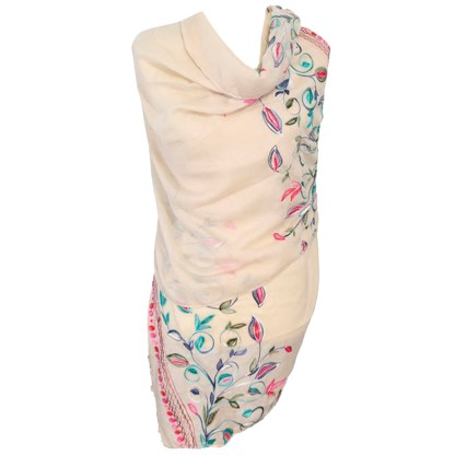 SILVERFEVER Floral Embroidery Light Scarf Shawl Wrap - Roses on White - Morning-Glory on WhiteSILVERFEVER Floral Embroidery Light Scarf Shawl Wrap - Morning-Glory on Beige