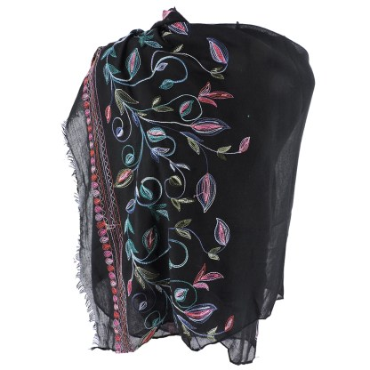 SILVERFEVER Floral Embroidery Light Scarf Shawl Wrap - Morning-Glory on Black