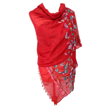 SILVERFEVER Floral Embroidery Light Scarf Shawl Wrap - Morning-Glory on Red