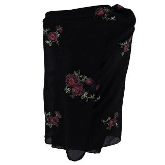 SILVERFEVER Floral Embroidery Light Scarf Shawl Wrap - Roses on Black