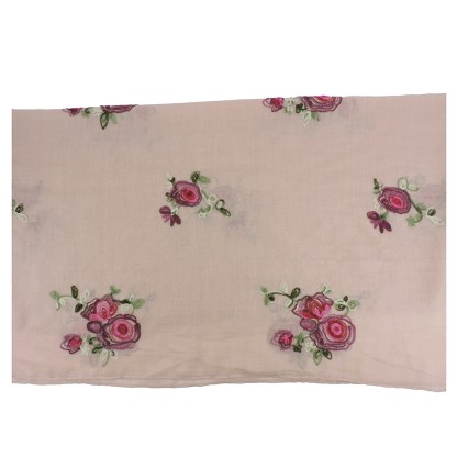 SILVERFEVER Floral Embroidery Light Scarf Shawl Wrap - Roses on Pink