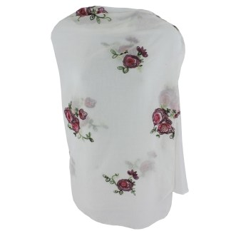 SILVERFEVER Floral Embroidery Light Scarf Shawl Wrap - Roses on White