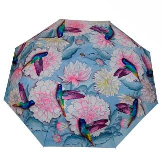 "Anuschka Art Foldable Umbrella 42"" Canopy Coverage Rain or Sun UV Protection Windproof Rainbow Birds"