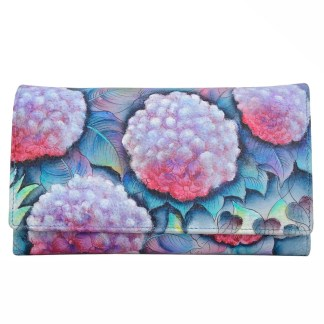 Anuschka Leather Ladies Checkbook Wallet/ Clutch Hypnotic Hydrangeas