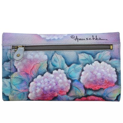 Anuschka Leather Ladies Checkbook Wallet/ Clutch Hypnotic Hydrangeas