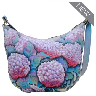 Anuschka Leather Medium Bucket Hobo Handbag Hypnotic Hydrangeas