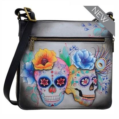 Anuschka Leather Expandable Travel Crossbody Bag Calavers de Azucar
