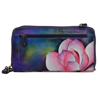 Anuschka Genuine Handpainted Leather Clutch Wallet Crossbody Magnolia Melody [CLONE]