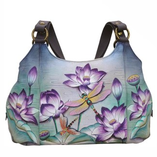Anuschka Leather Multi Compartment Large Satchel Tranquil Pond