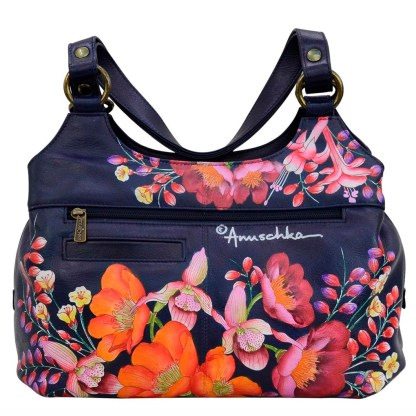 Anuschka Leather Multi Compartment Large Satchel Moonlit Meadow