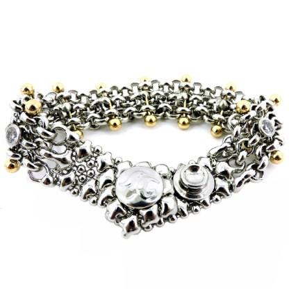 SG Liquid Metal Chain Mesh Bracelet with 24 K Gold Pins And Cubic Zircon by Sergio Gutierrez