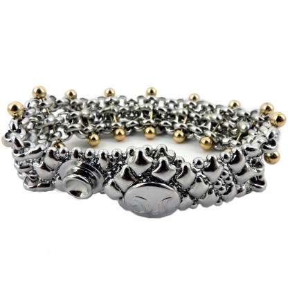 SG Liquid Metal Chain Mesh Bracelet with 24 K Gold Pins by Sergio Gutierrez