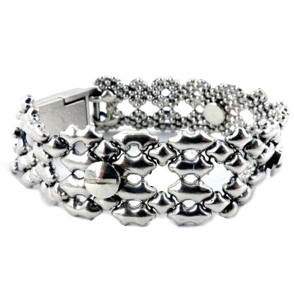 SG Liquid Metal Filigree w Nail Bracelet Snap-On Magentic Closure by Sergio Gutierrez