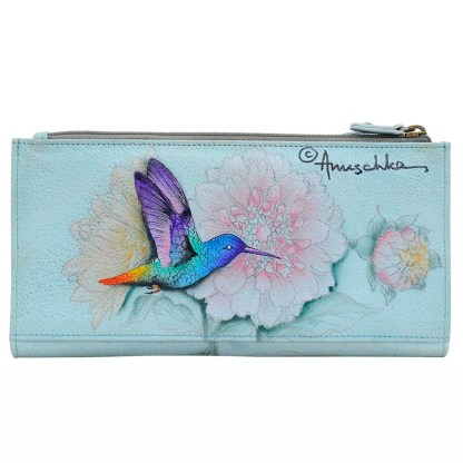 Anuschka Leather Two Fold Wallet Snap & Zip Rainbow Birds