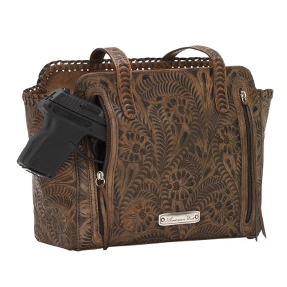 American West Leather - Multi Compartment Tote Bag - Annie's Secret - Concealed Carry Distressed Tan