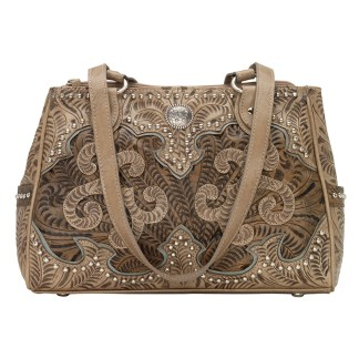 American West Leather - Multi Compartment Tote Bag - Annie's Secret - Concealed Carry Sand