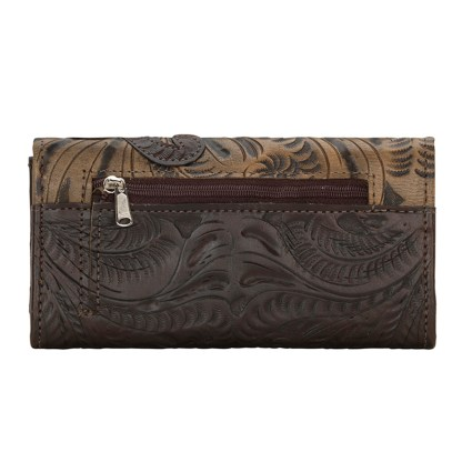American West Leather - Tri-Fold Ladies Wallet - Chocolate - Annie's Secret - Concealed Carry