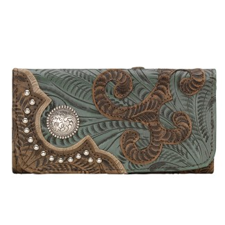 American West Leather - Tri-Fold Ladies Wallet - Turquoise Brown - Annie's Secret - Concealed Carry