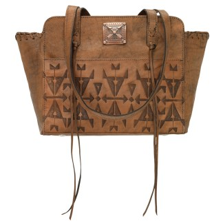 American West Leather - Multi Compartment Tote Bag - Crossed Arrows Charcoal Brown