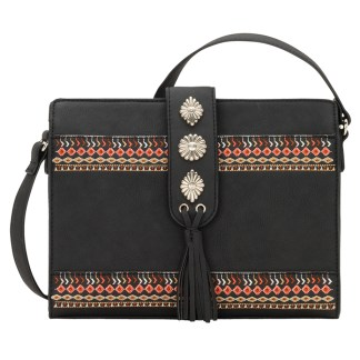 American West Bandana Zip Top Crossbody Handbag  Black - Del Rio