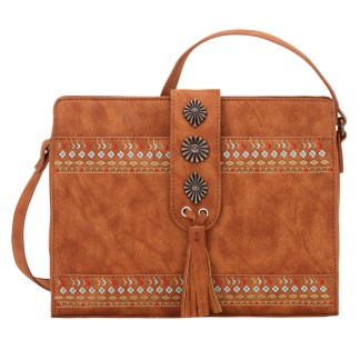 American West Bandana Zip Top Crossbody Handbag  Tan - Del Rio