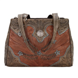 American West Leather - Multi Compartment Tote Bag - Desert Wildflower Blue