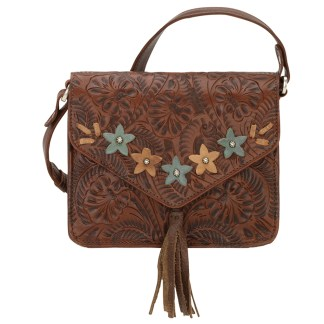 American West Leather - Small Cross Body Handbag  Brown - Flower Power