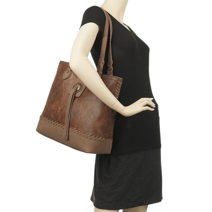 American West Bandana Zip Top Shoulder Handbag Medium Brown - Concealed Cary