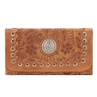 American West Leather - Tri-Fold Ladies Wallet - Tan - Harvest Moon