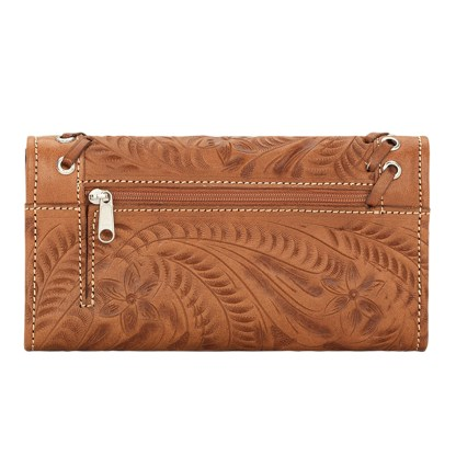 American West Leather - Tri-Fold Ladies Wallet - Tan - Harvest Moon