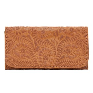 American West Leather - Tri-Fold Ladies Wallet - Tan - Annie's Secret - Concealed Carry