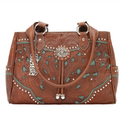 American West Leather - Multi Compartment Tote Bag - Lady Lace Antique Brown