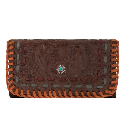 American West Leather - Tri-Fold Ladies Wallet - Brown Multi - Messila