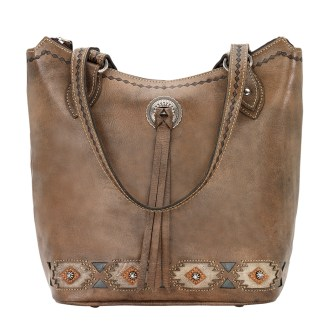 American West Leather - Multi Compartment Tote Bag - Native Sun Turquoise
