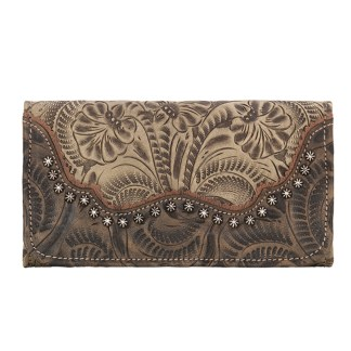 American West Leather - Tri-Fold Ladies Wallet - Sand Brown - Annie's Secret - Concealed Carry
