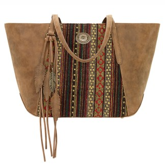 American West Bandana Zip Top Shoulder Handbag Tan  - Serape