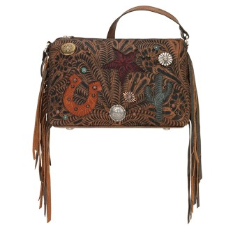 American West Leather - Cross Body Handbag -  Sun Valley, Brown