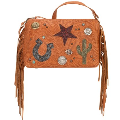 American West Leather - Cross Body Handbag -  Sun Valley, Tan