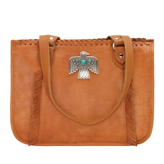 American West Leather - Multi Compartment Tote Bag - Thunderbird Ridge Tan