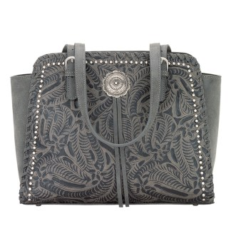 American West Bandana Zip Top Shoulder Handbag Grey - Trinity Trail