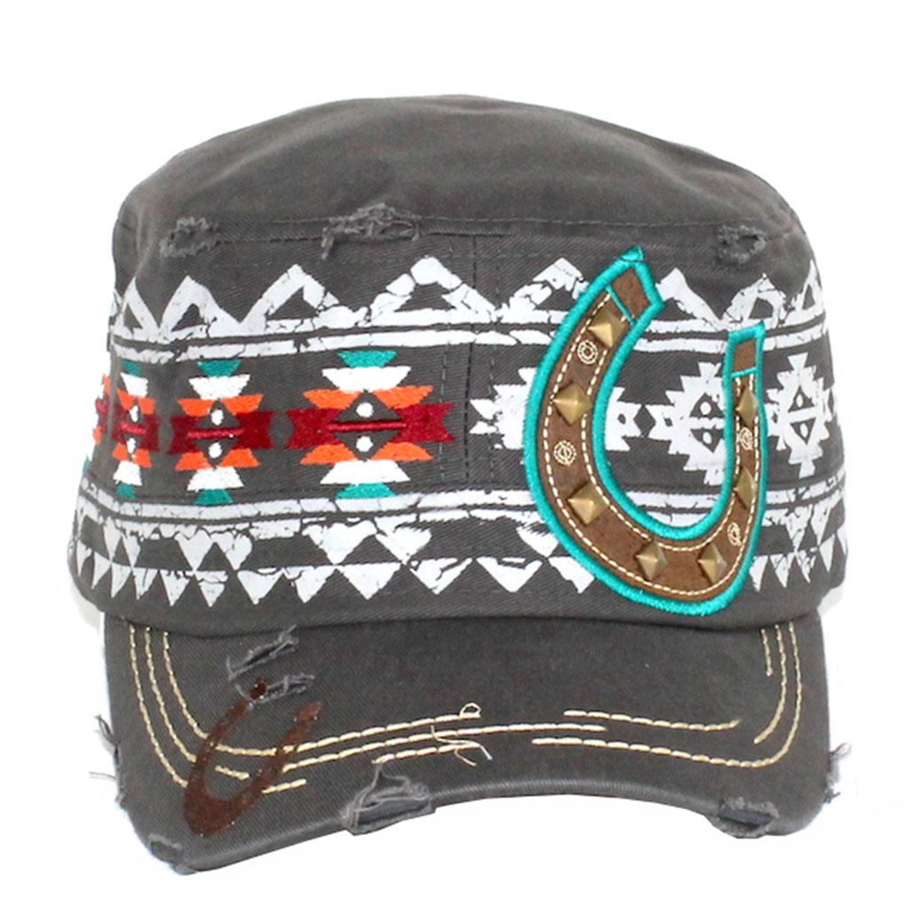Women's Military Cadet Cap Hat Cotton Crystal Studded Grey, Aztec